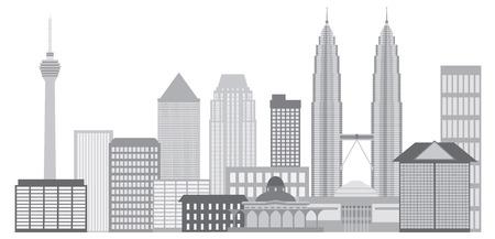 Kuala Lumpur Malaysia City Skyline Grayscale Isolated on White Background Illustration