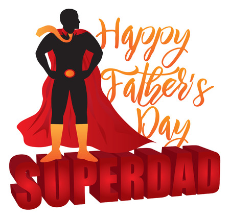 Happy Fathers Day Super Dad 3D Text Superhero Silhouette Outline Color Isolated on White Background Illustration Illustration