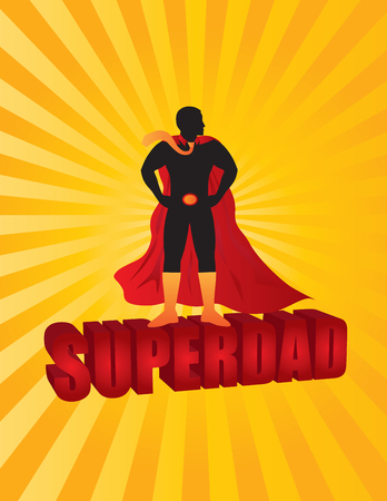 super dad: Happy Fathers Day Super Dad 3D Text Superhero Silhouette Outline Color on Sun Rays Background Illustration