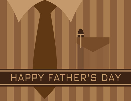 festive occasions: Happy Fathers Day Text with Tie Shirt Pocket Pen on Brown Stripes Pattern Background Illustration