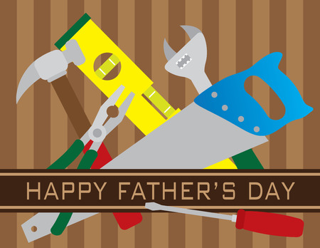 festive occasions: Happy Fathers Day Text with Hammer Pliers Level Screwdriver Saw Wrench Tools on Brown Stripes Pattern Background Illustration Illustration