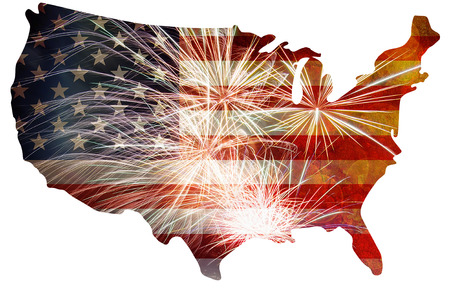 united: United States of America USA Flag Map Outline  with Fireworks Grunge Background For 4th of July