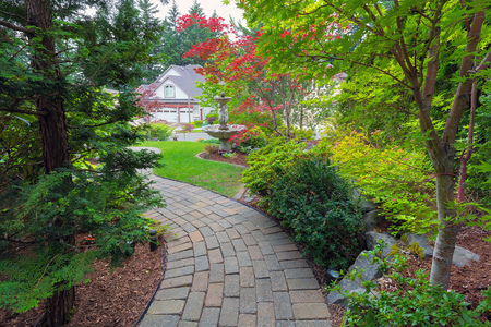 hinoki: Garden brick paver path in frontyard with water fountain plants shrubs evergreen and deciduous trees landscaping