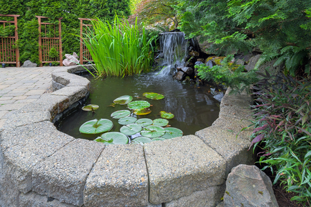Garden Backyard pond with waterfall water plants brick paver patio trellis landscaping