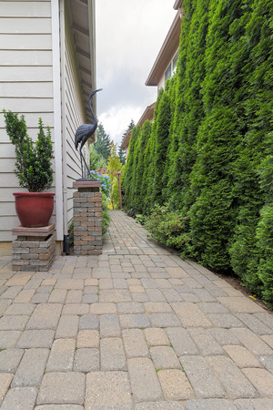 Garden Backyard Patio And Brick Paver Path With Potted Plant Garden Decor  Column And Evergreen Trees