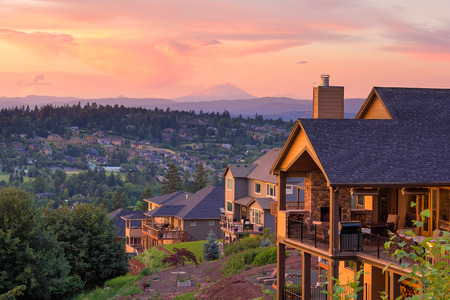 Sunset View with Mount St Helens from deck of luxury homes in Happy Valley Oregon in Clackamas County Stock Photo