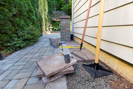 walkway: Stone Pavers and tiles for side yard patio hardscape for  garden landscaping tools rubber mallet sand gravel tamper level rake