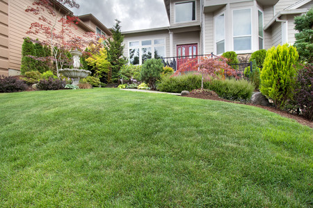 front yard: Green Grass Lawn in house front yard manicured garden with water fountain trees plant shrubs rocks in landscaping