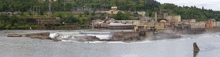 linn: Willamette Falls Paper Mills Industrial Area Along Willamette River between Oregon City and West Linn Panorama