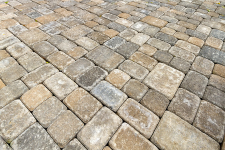 paver: Brick Paver Patio in Garden Backyard Hardscape Closeup Background