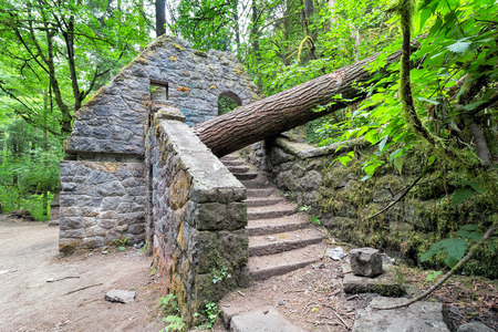 wildwood: Abandoned stone castle house at Wildwood Trail in Forest Park Portland Oregon Stock Photo