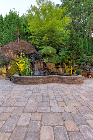 hardscape: Backyard Garden Paver Brick Patio with Waterfall Pond and Landscaping