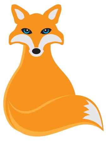 Fox Sitting Color Illustration
