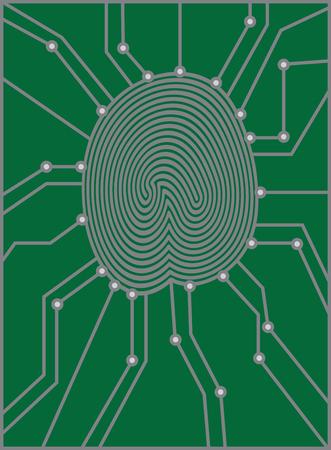 odcisk kciuka: Odcisk palca z Circuit Board do identyfikacji uwierzytelniania czarno-białych ilustracji