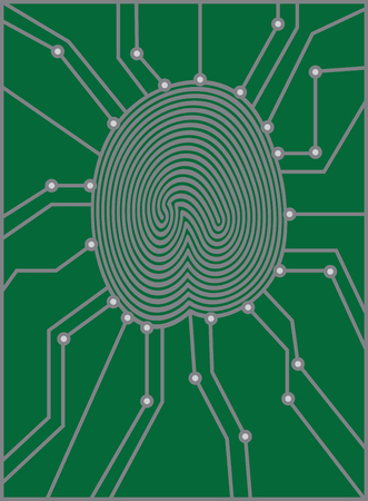 identity theft: Thumbprint with Circuit Board for authentication identification black and white illustration