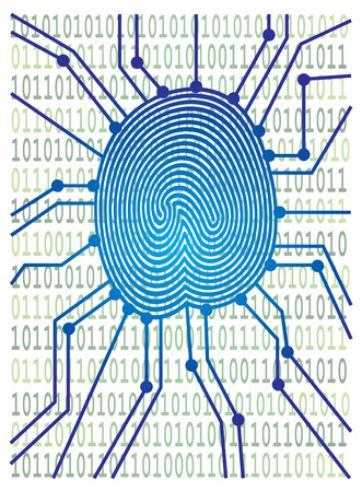 odcisk kciuka: Thumbprint with Circuit Board Computer Binary Code for authentication identification color illustration