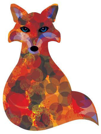 Fox Sitting Bokeh Paint Splatter Color Abstract Illustration Illustration