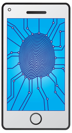 thumbprint: Fingerprint identification with circuit board on Mobile Smart Phone screen isolated on white background