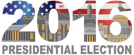 senate race: 2016 US Presidential Election Race Washington DC Flag Outline Illustration Illustration