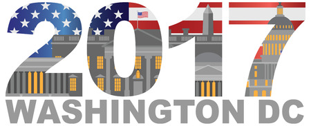 district of columbia: 2017 USA American Flag Numbers Outline Washington DC Isolated on White Background Illustration