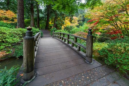 Herfst kleuren door de voetbrug bij Japanse Tuin in de Herfst Stockfoto