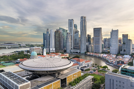 Singapore Central Business District along Singapore River city skyline