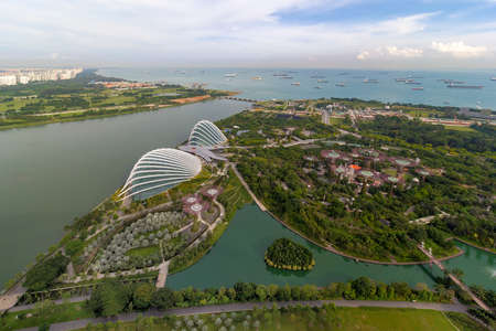Singapore Marina Barrage Reservoir and Gardens by the Bay aerial view