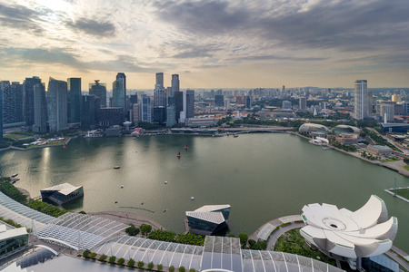 waterfront property: Singapore Marina bay and Central Business District aerial view