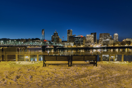 eastbank: Portland Skyline View from Eastbank Esplanade during evening blue hour on a cold winter night