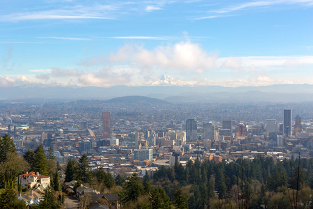 range hood: Portland Oregon downtown cityscape with Mt Hood on a beautiful sunny day scenic view