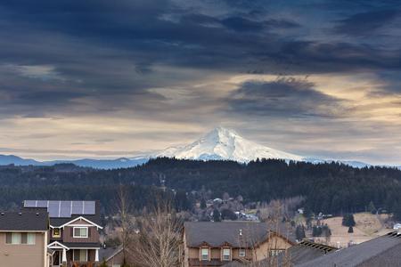 northwest: Luxury neighborhood suburban homes with Mount Hood view in Happy Valley Oregon