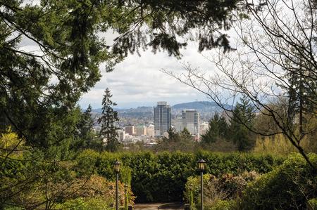 northwest: Portland Oregon downtown city view from Washington Park in Spring Season