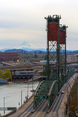 eastbank: Hawthorne Bridge over Willamette River and Mount Hood view from downtown Portland Oregon