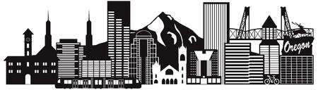Portland, Oregón, esquema, silueta, ciudad, horizonte, centro, y, transporte, panorama, negro, aislado, blanco, Plano de fondo, Ilustración Ilustración de vector