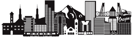 pacific northwest: Portland Oregon Outline Silhouette with City Skyline Downtown and Transportation Panorama Black Isolated on White Background Illustration Illustration