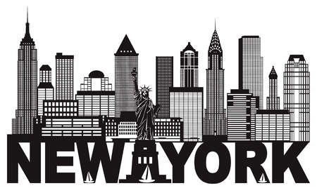 uptown: New York City Skyline with Statue of Liberty and text Black and White Outline Illustration Illustration