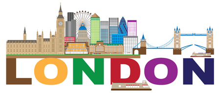 London England Skyline Panorama with Tower Bridge and Westminster Palace with Color Text Illustration Ilustração