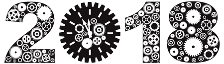 leverage: Happy New Year 2018 with Mechanical Gears and Clock Black and White Illustration