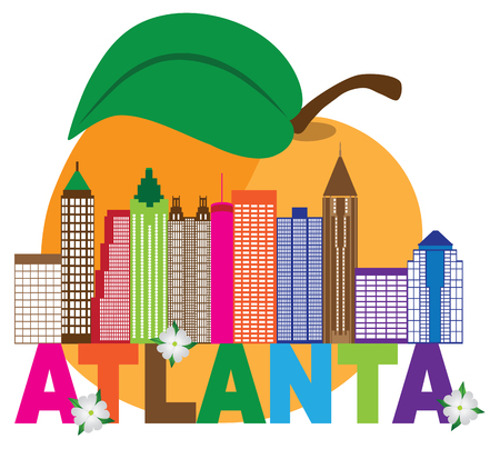 Atlanta Georgia City Skyline Abstract with Peach Dogwood Flowers Colorful Text llustration