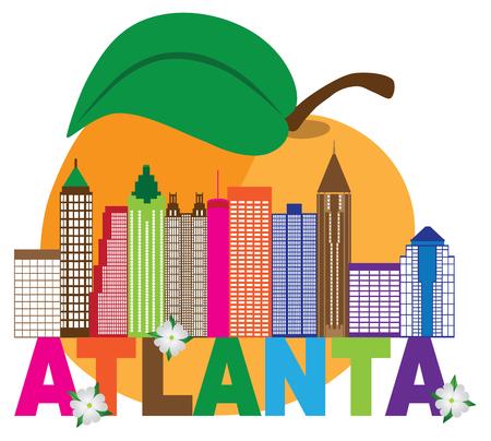 Extracto del horizonte de la ciudad de Atlanta Georgia con flores de Dogwood del melocotón Llustration colorido del texto