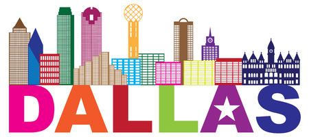 Dallas Texas City Skyline Outline Color Silhouette Panorama with Text and Lone Star Abstract Isolated on White Background Illustration