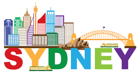 sydney skyline: Sydney Australia Skyline Landmarks Harbour Bridge Colorful Abstract Isolated on White Background Illustration Illustration