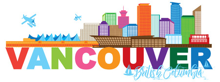 Vancouver British Columbia Canada City Skyline Text Color Illustration