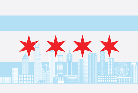 Chicago City Skyline Panorama Color Outline Silhouette with City Flag Isolated on White Background Illustration Ilustração