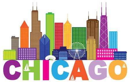 Chicago City Skyline Panorama Farbe Umriss Silhouette mit Text isoliert auf weißem Hintergrund Illustration Standard-Bild - 79102571