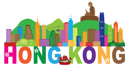 Hong Kong City Skyline and Big Buddha Statue Panorama Color Abstract Text Isolated on White Background Illustration Vettoriali