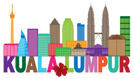 Kuala Lumpur Malaysia City Skyline Color Text Stae Flower Hisbicus Isolated on White Background Illustration