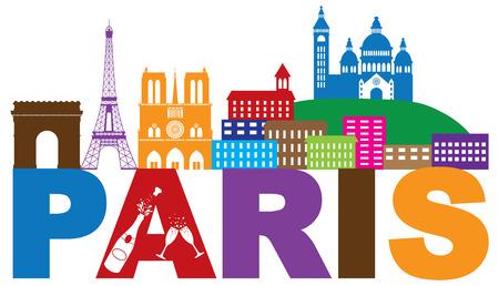 파리 프랑스 도시의 스카이 라인 개요 샴페인 병 유리 흰색 배경에 고립 된 실루엣 색상 파노라마 그림