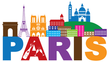 coeur: Paris France City Skyline Outline Silhouette Color with Champagne Bottle Glass Isolated on White Background Panorama Illustration