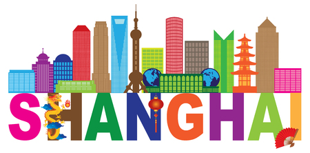 Shanghai China City Skyline Outline Silhouette Color Text Abstract Isolated on White Background Illustration